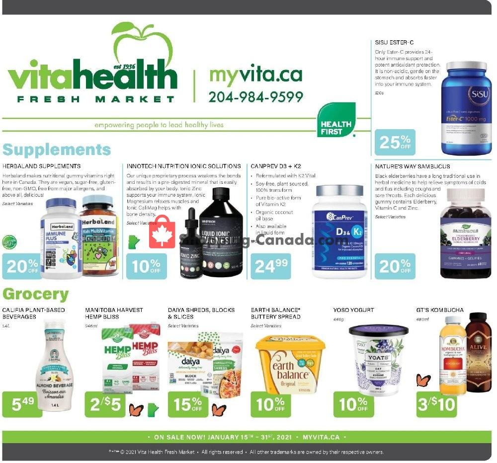 Flyer Vita Health Fresh Market Canada - from Friday January 15, 2021 to Sunday January 31, 2021