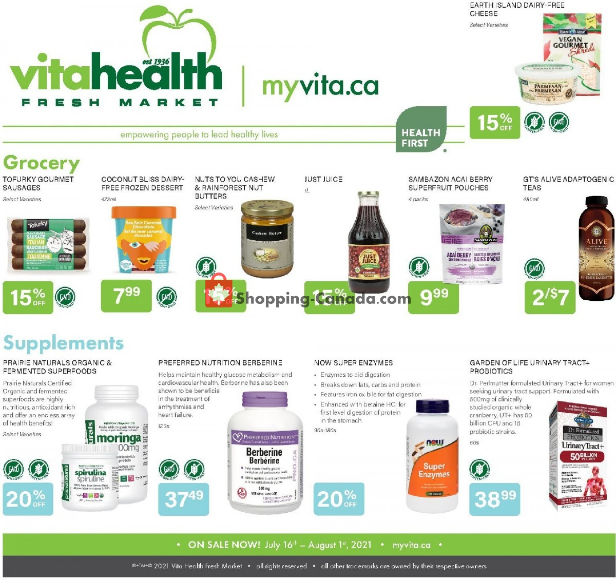 Flyer Vita Health Fresh Market Canada - from Friday July 16, 2021 to Sunday August 1, 2021