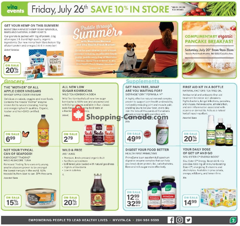 Flyer Vita Health Fresh Market Canada - from Friday July 19, 2019 to Sunday August 4, 2019