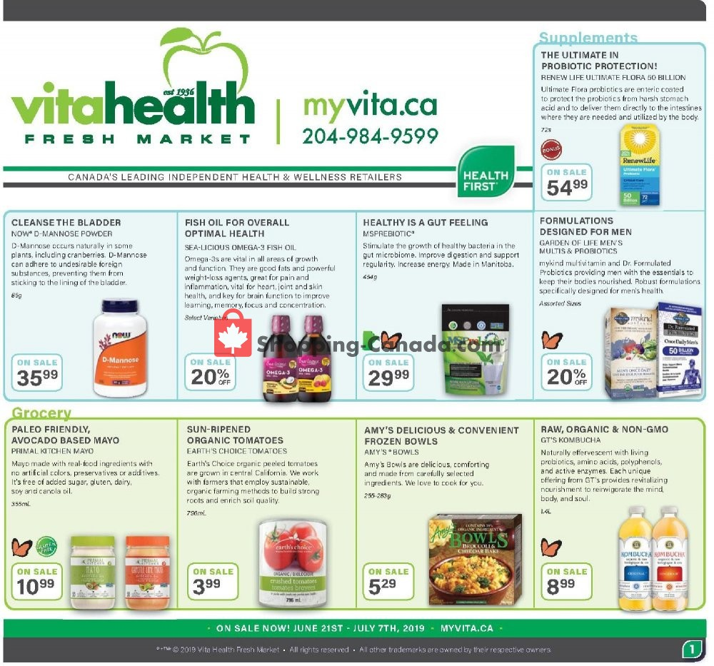 Flyer Vita Health Fresh Market Canada - from Friday June 21, 2019 to Sunday July 7, 2019