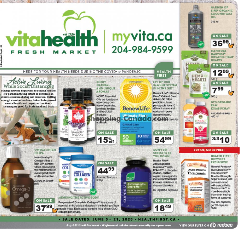Flyer Vita Health Fresh Market Canada - from Friday June 5, 2020 to Sunday June 21, 2020