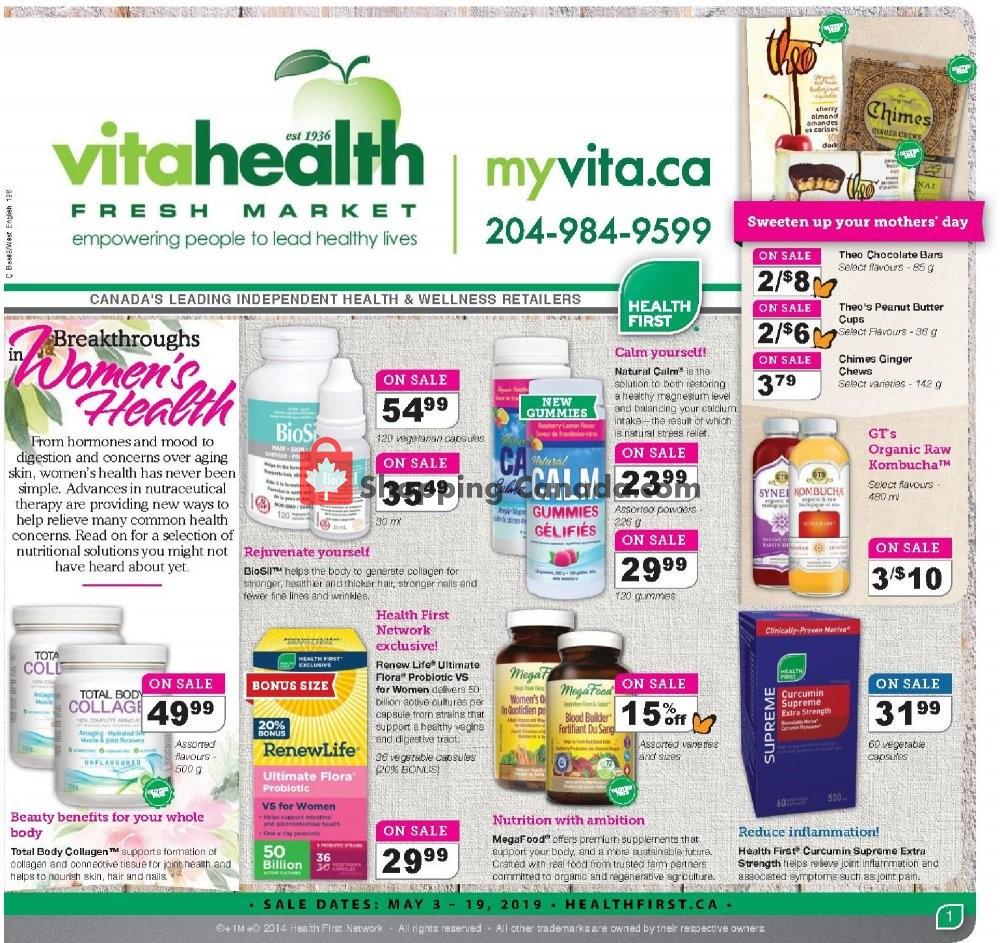 Flyer Vita Health Fresh Market Canada - from Friday May 3, 2019 to Sunday May 19, 2019
