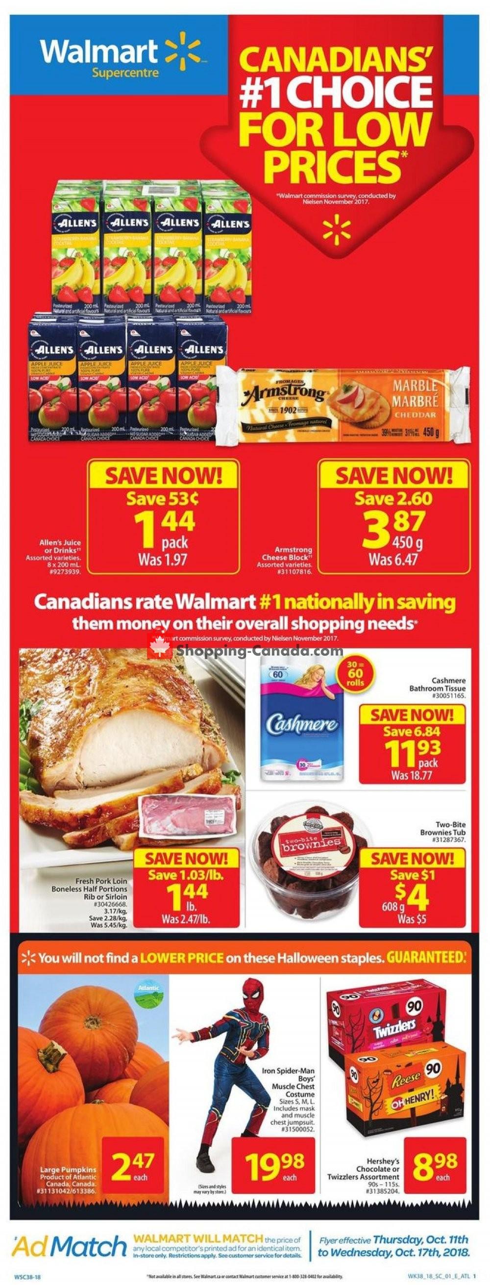 Flyer Walmart Canada - from Thursday October 11, 2018 to Wednesday October 17, 2018