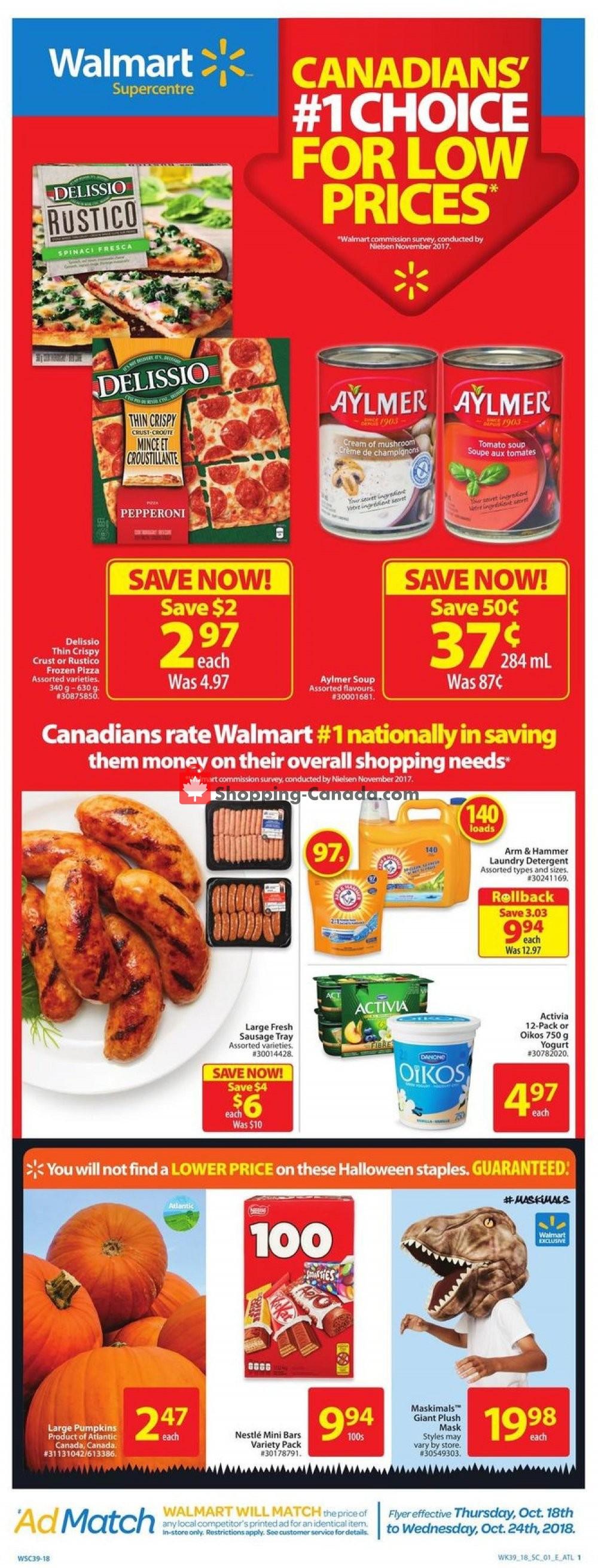 Flyer Walmart Canada - from Thursday October 18, 2018 to Wednesday October 24, 2018
