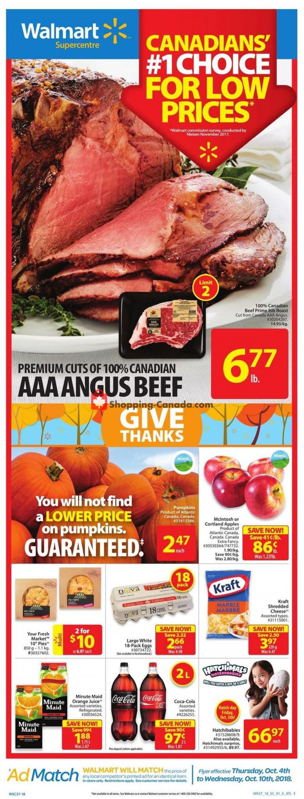 Flyer Walmart Canada - from Thursday October 4, 2018 to Wednesday October 10, 2018