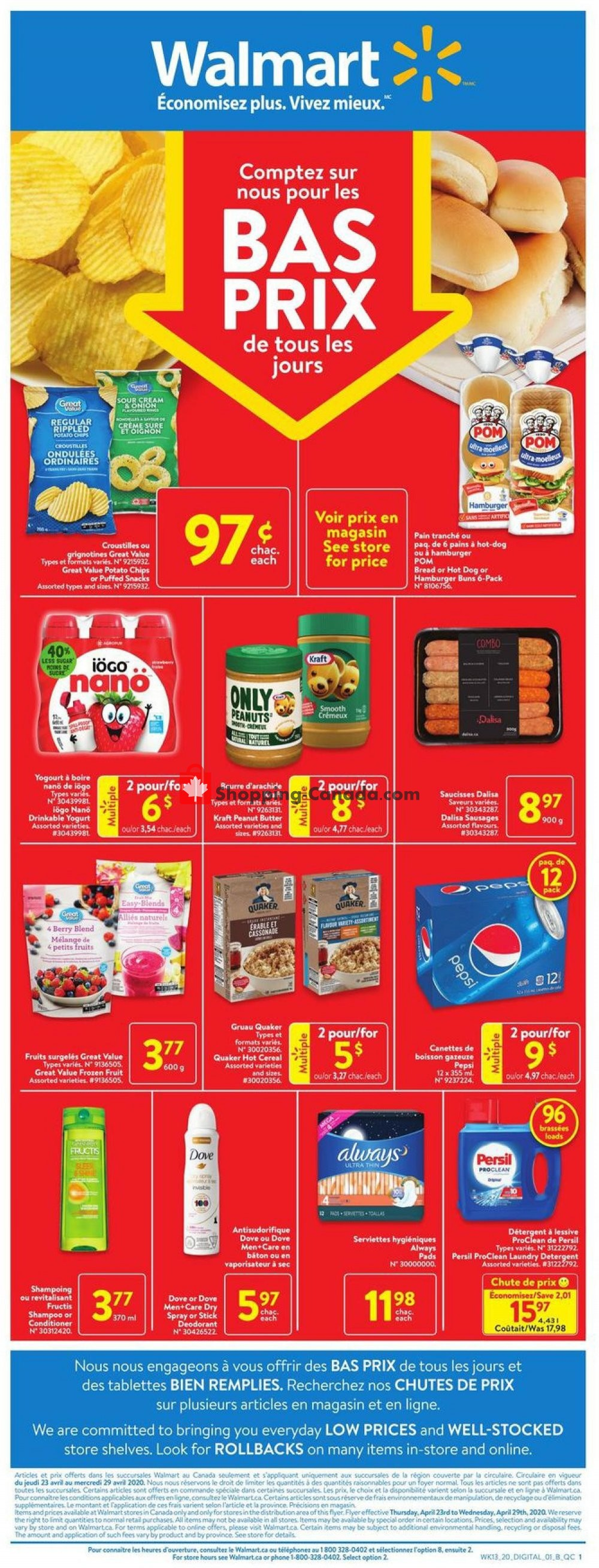Flyer Walmart Canada - from Thursday April 23, 2020 to Wednesday April 29, 2020