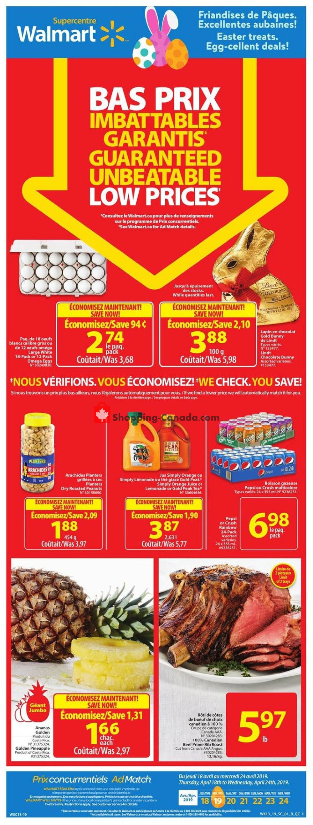 Flyer Walmart Canada - from Thursday April 18, 2019 to Wednesday April 24, 2019
