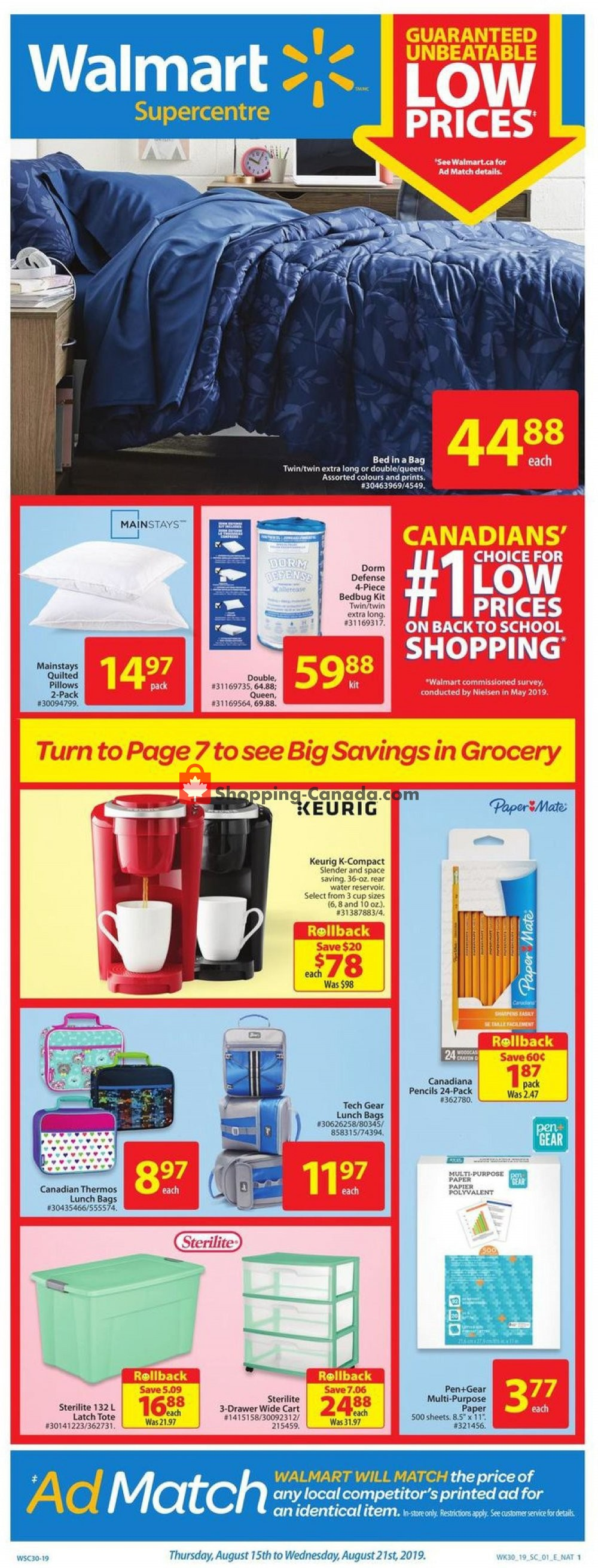 Flyer Walmart Canada - from Thursday August 15, 2019 to Wednesday August 21, 2019