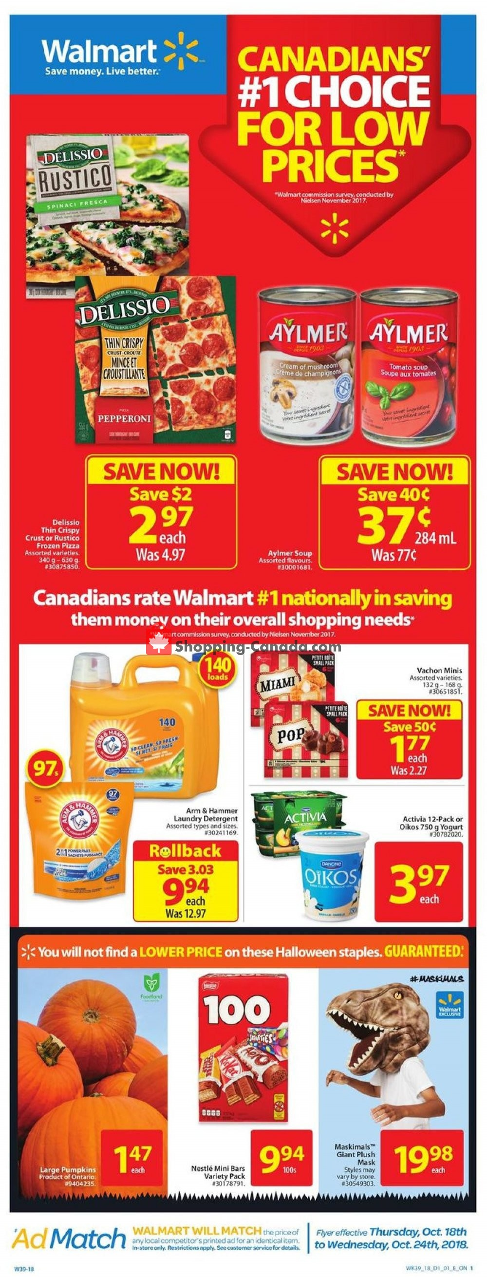 Flyer Walmart Canada - from Thursday October 18, 2018 to Wednesday October 24, 2018