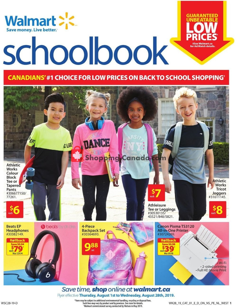 Flyer Walmart Canada - from Thursday August 1, 2019 to Wednesday August 28, 2019