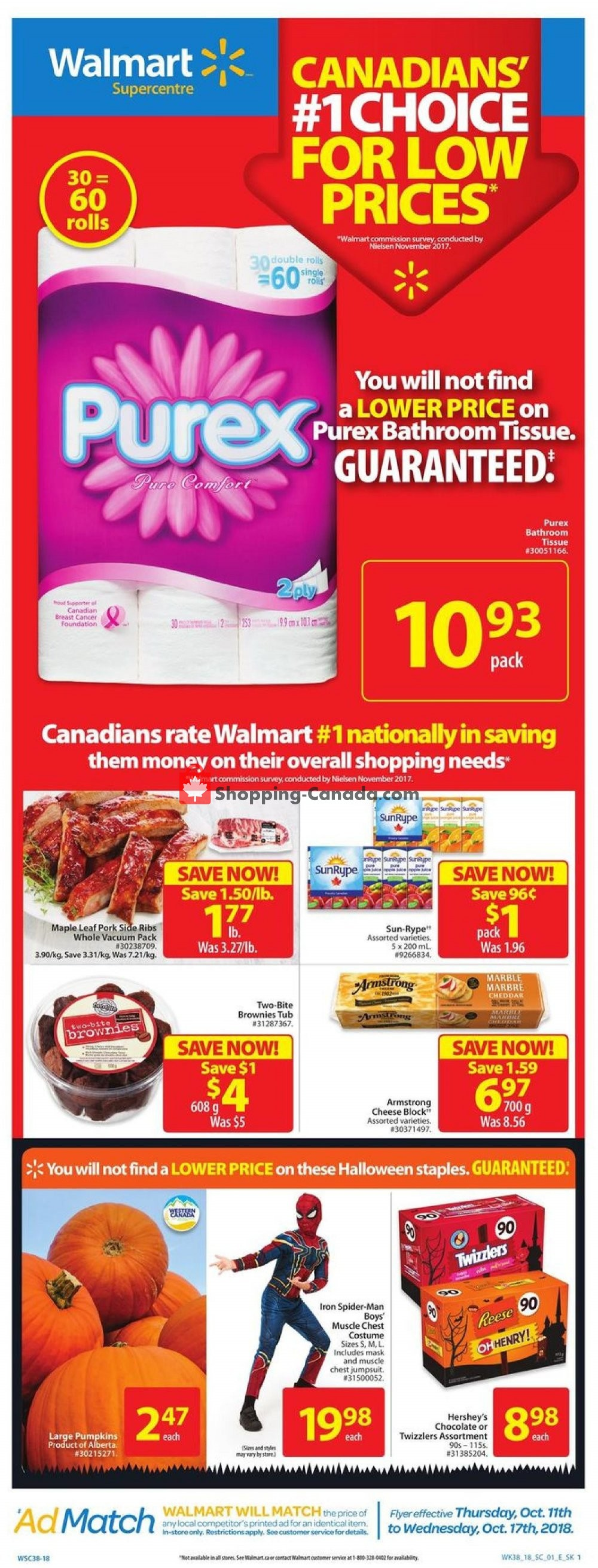 Flyer Walmart Canada - from Thursday October 11, 2018 to Wednesday October 17, 2018