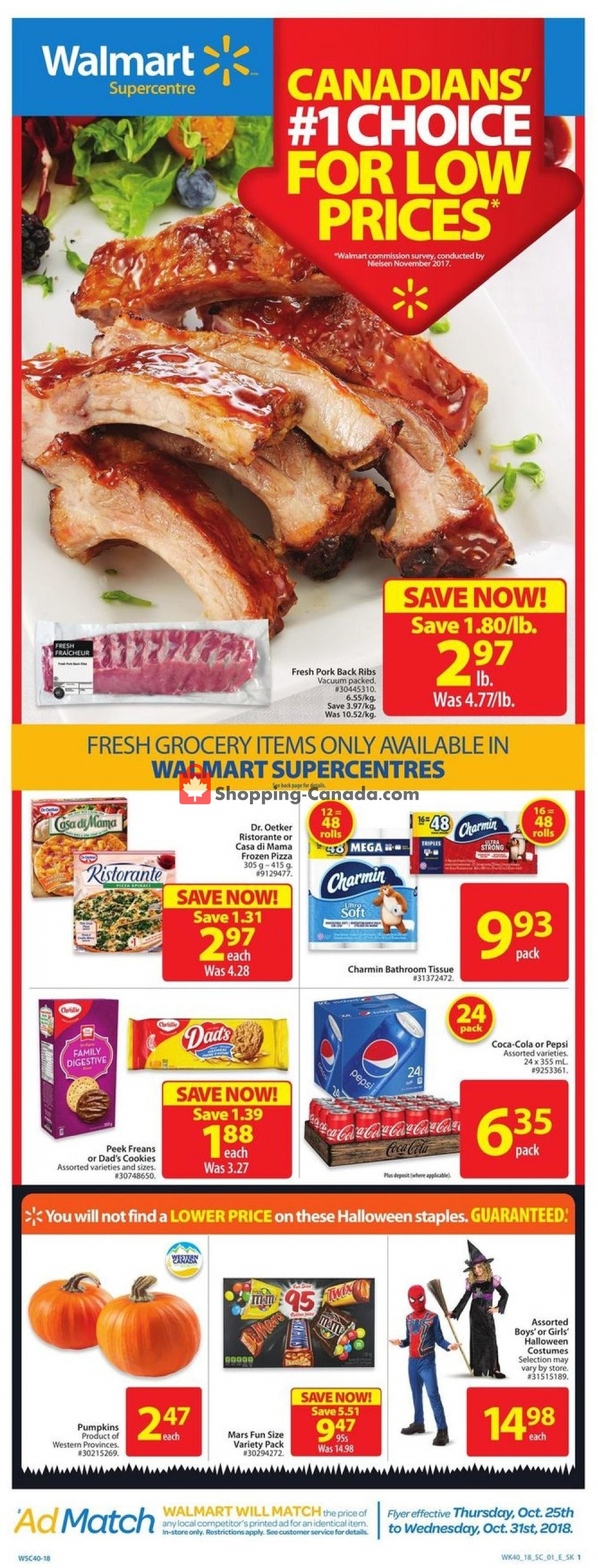 Flyer Walmart Canada - from Thursday October 25, 2018 to Wednesday October 31, 2018