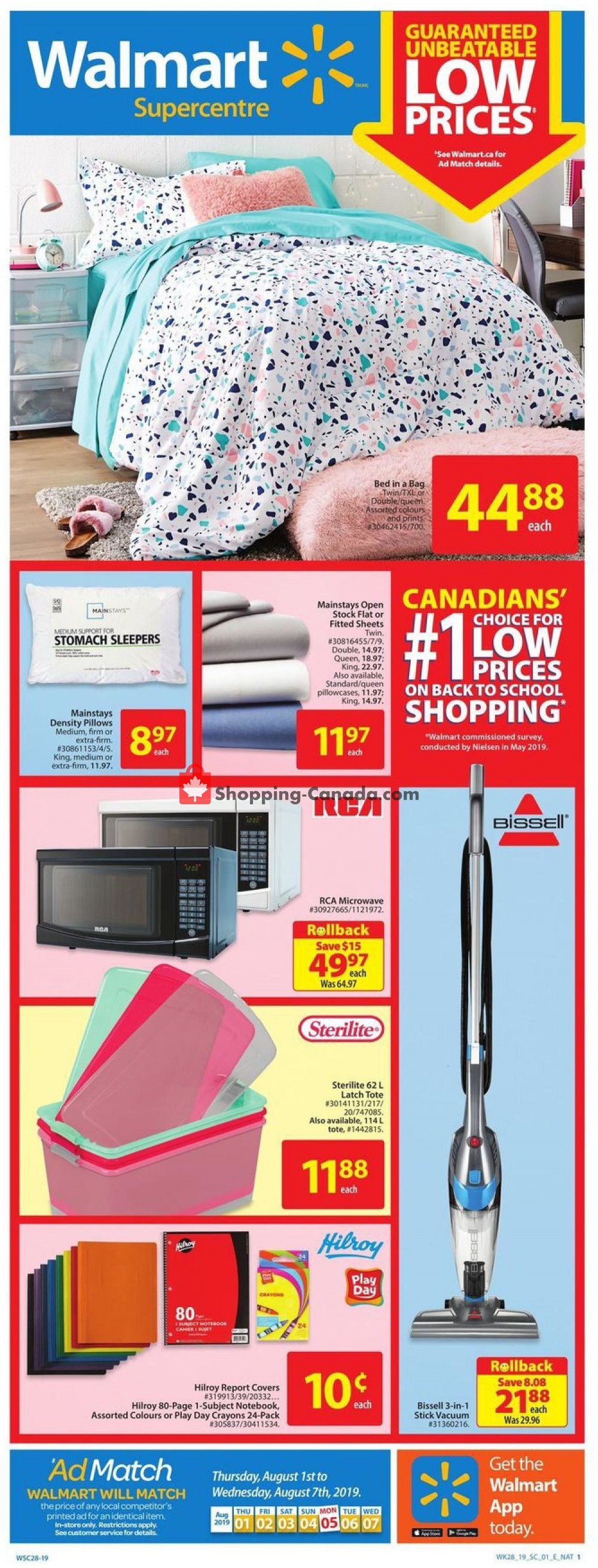 Flyer Walmart Canada - from Thursday August 1, 2019 to Wednesday August 7, 2019