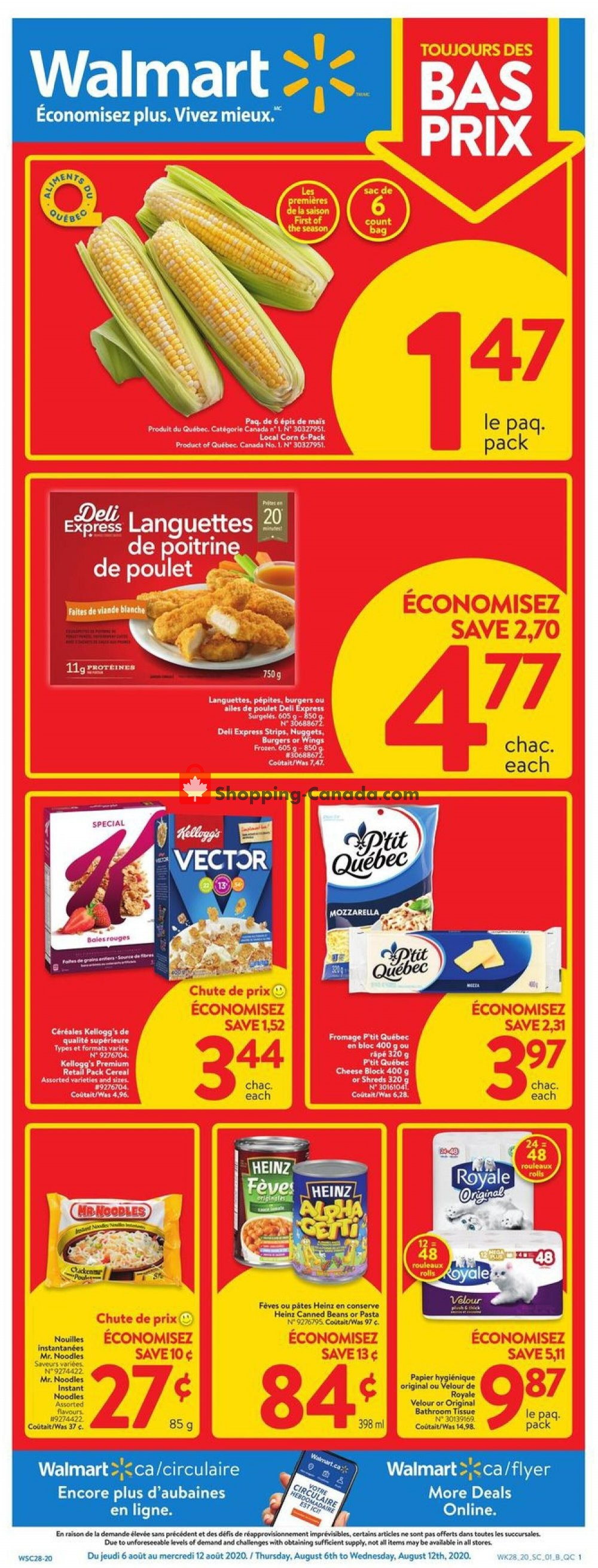 Flyer Walmart Canada - from Thursday August 6, 2020 to Wednesday August 12, 2020