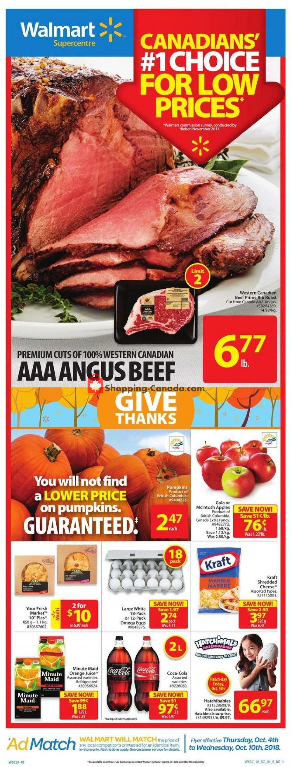 Flyer Walmart Canada - from Thursday October 4, 2018 to Wednesday October 10, 2018