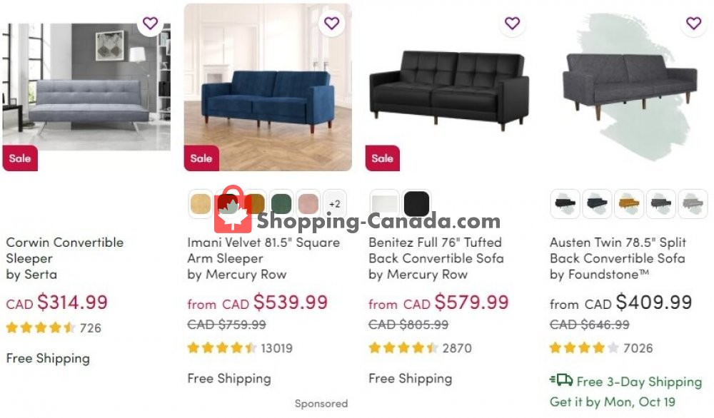 Flyer Wayfair Canada - from Thursday October 15, 2020 to Wednesday October 21, 2020