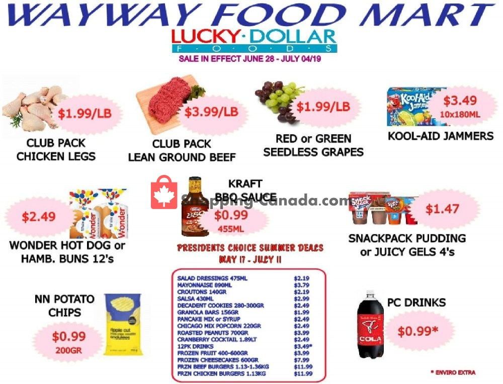 Flyer WayWay Food Mart Canada - from Friday June 28, 2019 to Thursday July 4, 2019