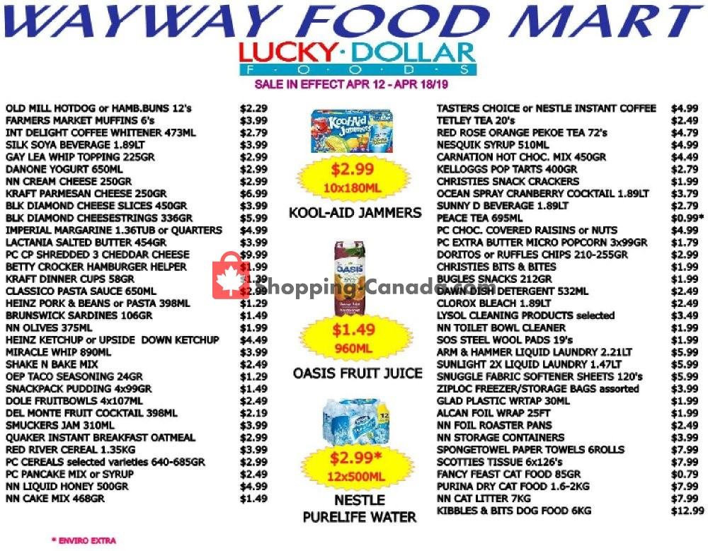 Flyer WayWay Food Mart Canada - from Friday April 12, 2019 to Thursday April 18, 2019