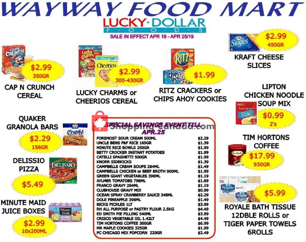 Flyer WayWay Food Mart Canada - from Friday April 19, 2019 to Thursday April 25, 2019