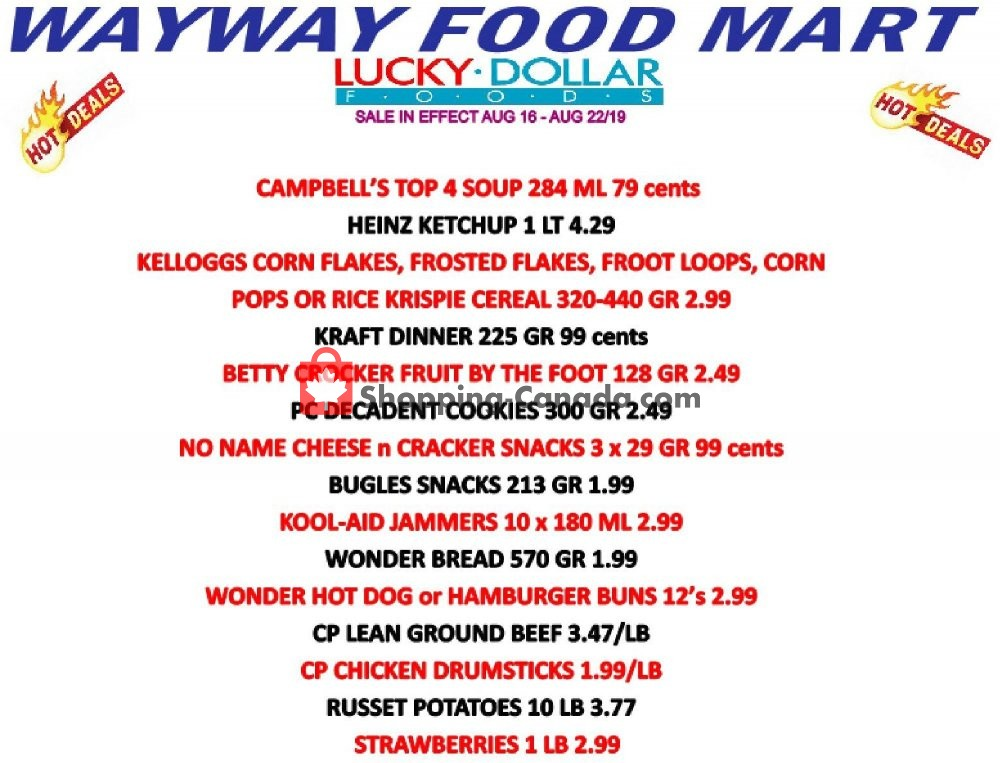 Flyer WayWay Food Mart Canada - from Friday August 16, 2019 to Thursday August 22, 2019