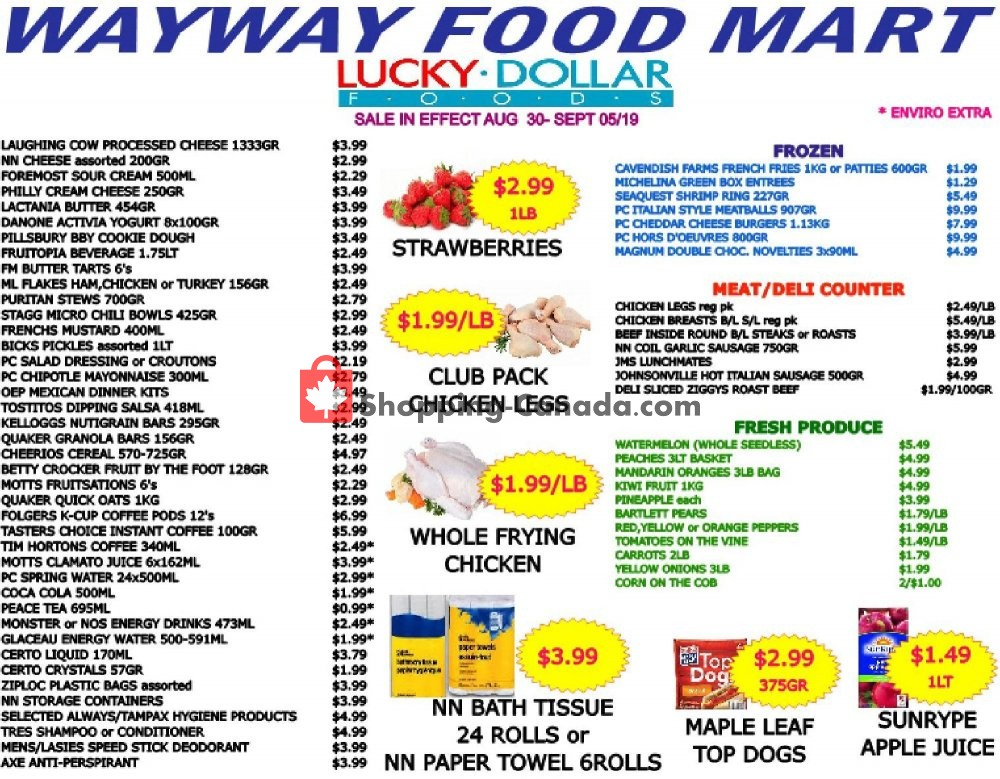 Flyer WayWay Food Mart Canada - from Friday August 30, 2019 to Thursday September 5, 2019