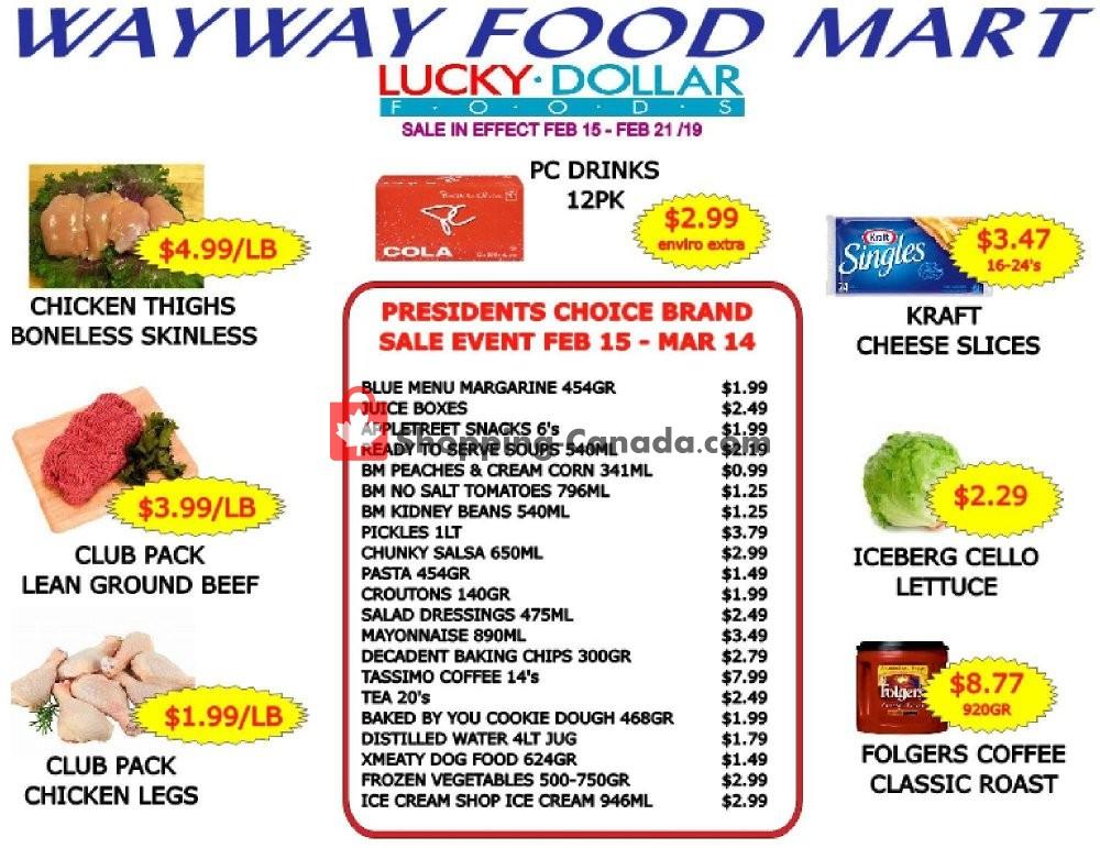 Flyer WayWay Food Mart Canada - from Friday February 15, 2019 to Thursday February 21, 2019
