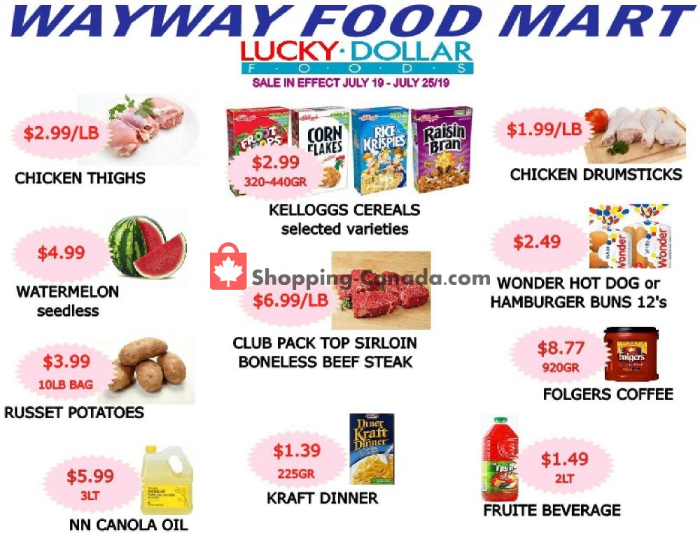 Flyer WayWay Food Mart Canada - from Friday July 19, 2019 to Thursday July 25, 2019