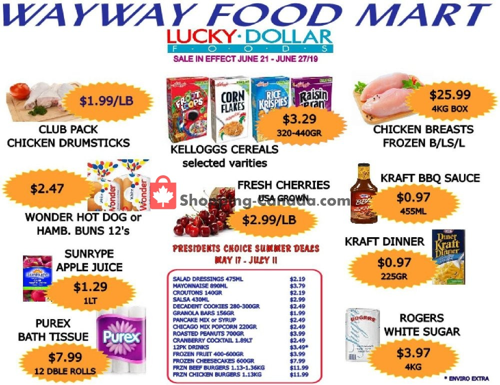 Flyer WayWay Food Mart Canada - from Friday June 21, 2019 to Thursday June 27, 2019