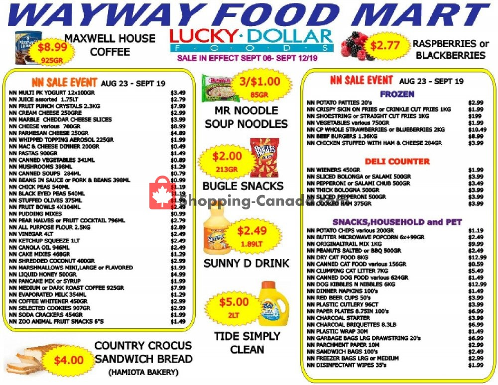 Flyer WayWay Food Mart Canada - from Friday September 6, 2019 to Thursday September 12, 2019