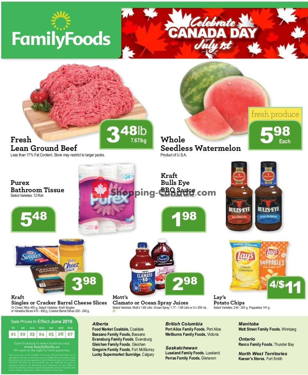 Flyer Wellburn's Food Market Canada - from Friday June 21, 2019 to Thursday June 27, 2019