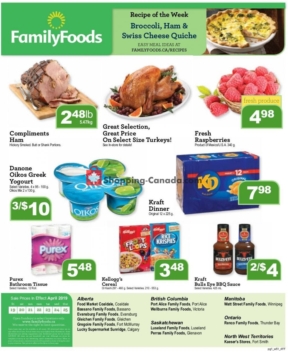 Flyer Wellburn's Food Market Canada - from Friday April 19, 2019 to Thursday April 25, 2019