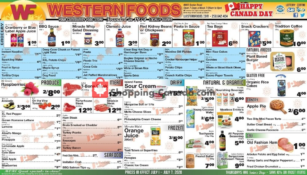 Flyer Western Foods Canada - from Wednesday July 1, 2020 to Tuesday July 7, 2020