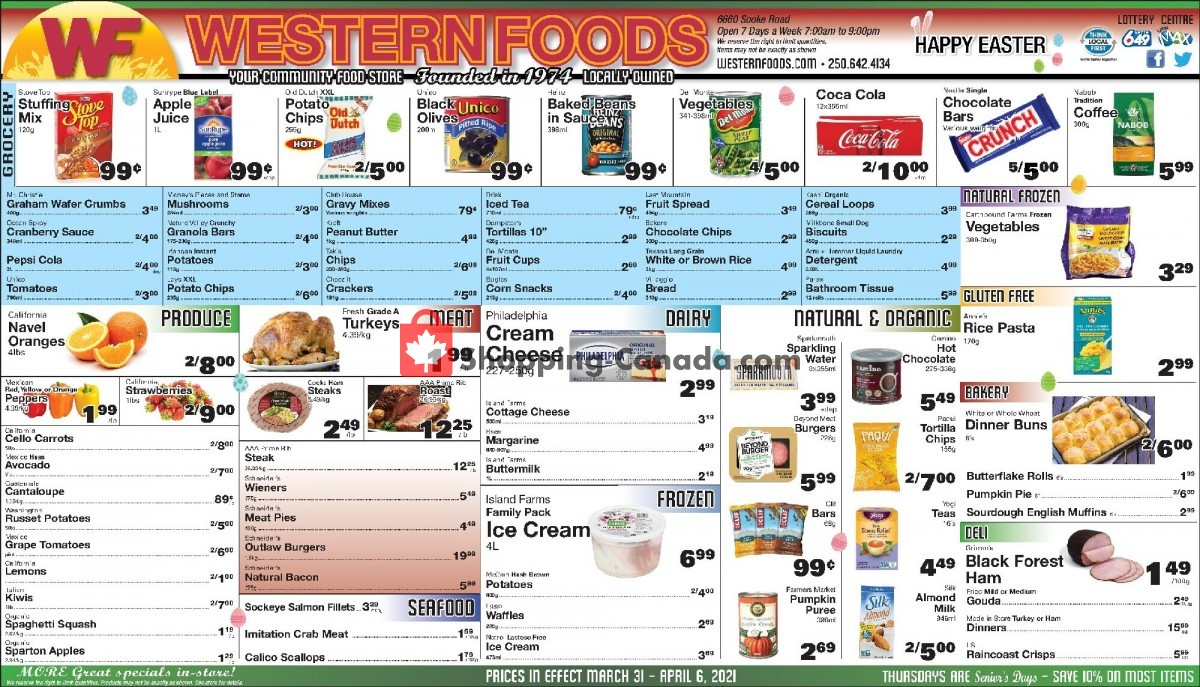 Flyer Western Foods Canada - from Wednesday March 31, 2021 to Tuesday April 6, 2021