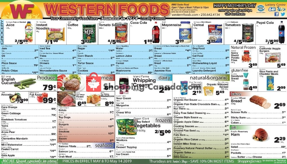 Flyer Western Foods Canada - from Wednesday May 8, 2019 to Tuesday May 14, 2019