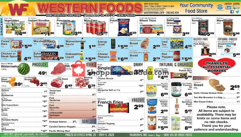Flyer Western Foods Canada - from Wednesday April 29, 2020 to Tuesday May 5, 2020