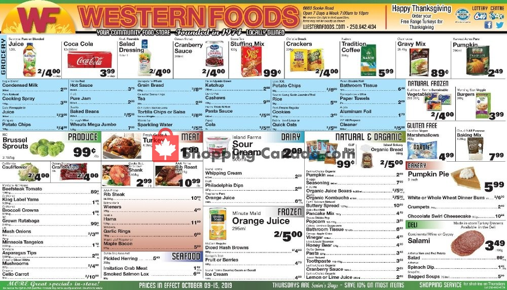 Flyer Western Foods Canada - from Wednesday October 9, 2019 to Wednesday October 16, 2019