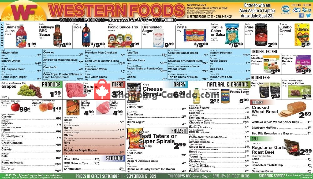 Flyer Western Foods Canada - from Wednesday September 11, 2019 to Tuesday September 17, 2019