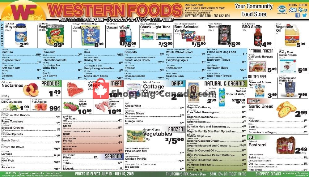 Flyer Western Foods Canada - from Wednesday July 10, 2019 to Tuesday July 16, 2019