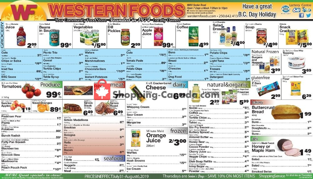 Flyer Western Foods Canada - from Wednesday July 31, 2019 to Tuesday August 6, 2019