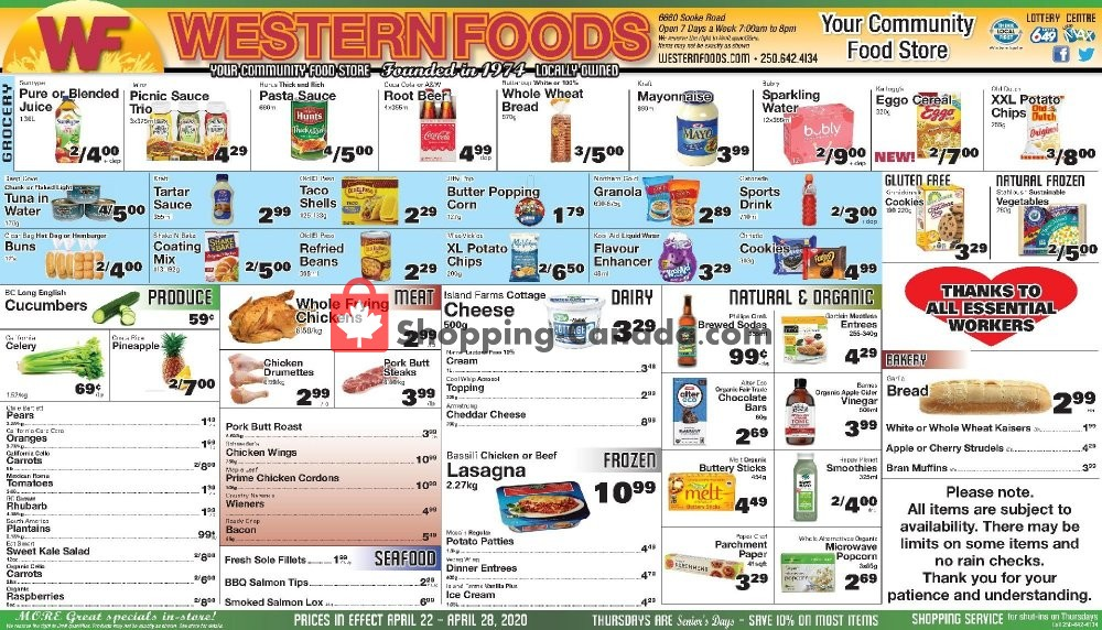 Flyer Western Foods Canada - from Wednesday April 22, 2020 to Tuesday April 28, 2020