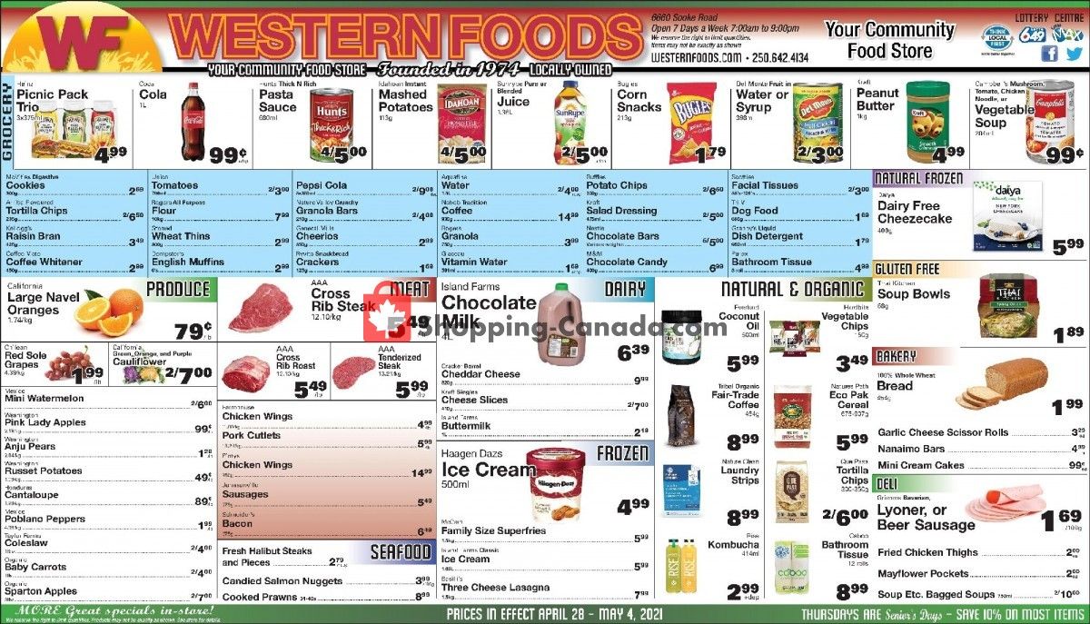 Flyer Western Foods Canada - from Wednesday April 28, 2021 to Tuesday May 4, 2021