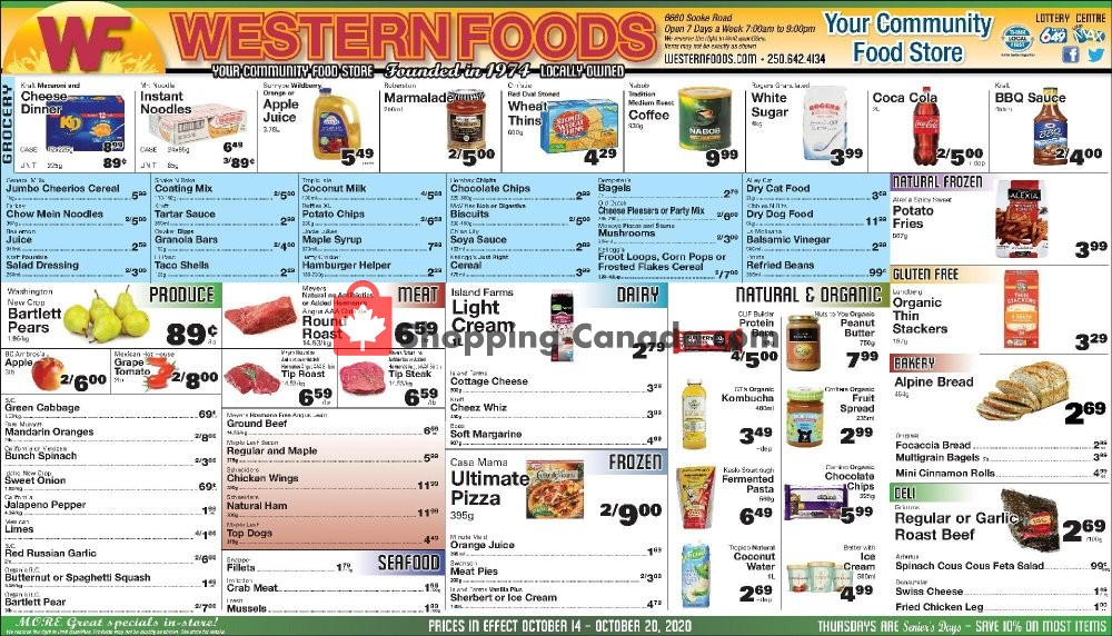 Flyer Western Foods Canada - from Wednesday October 14, 2020 to Tuesday October 20, 2020