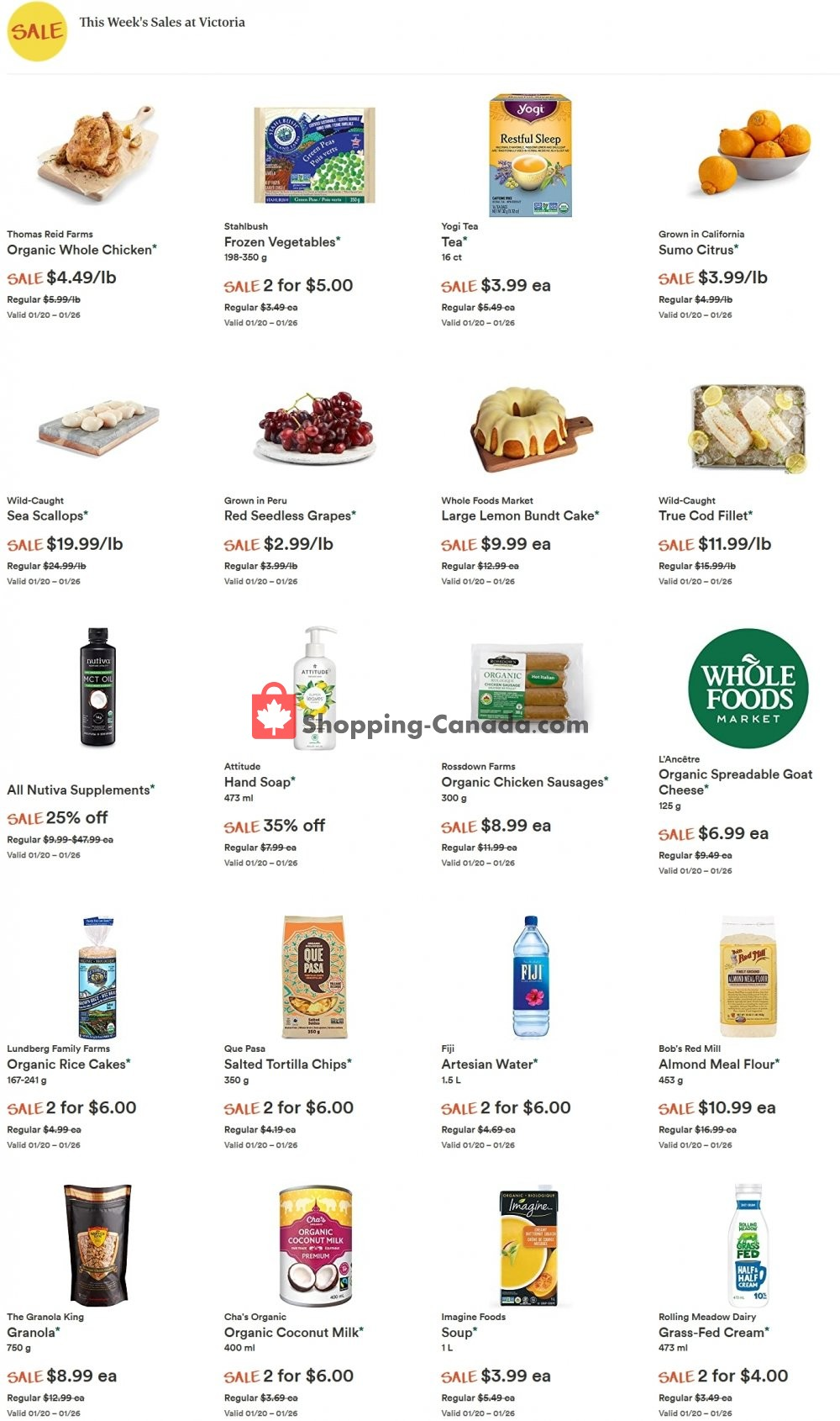 Flyer Whole Foods Market Canada - from Wednesday January 20, 2021 to Tuesday January 26, 2021