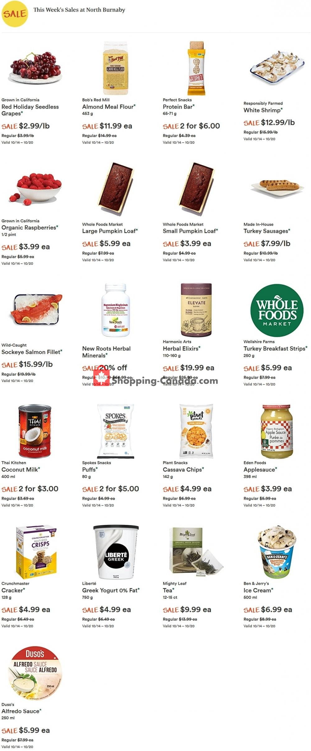 Flyer Whole Foods Market Canada - from Wednesday October 14, 2020 to Tuesday October 20, 2020
