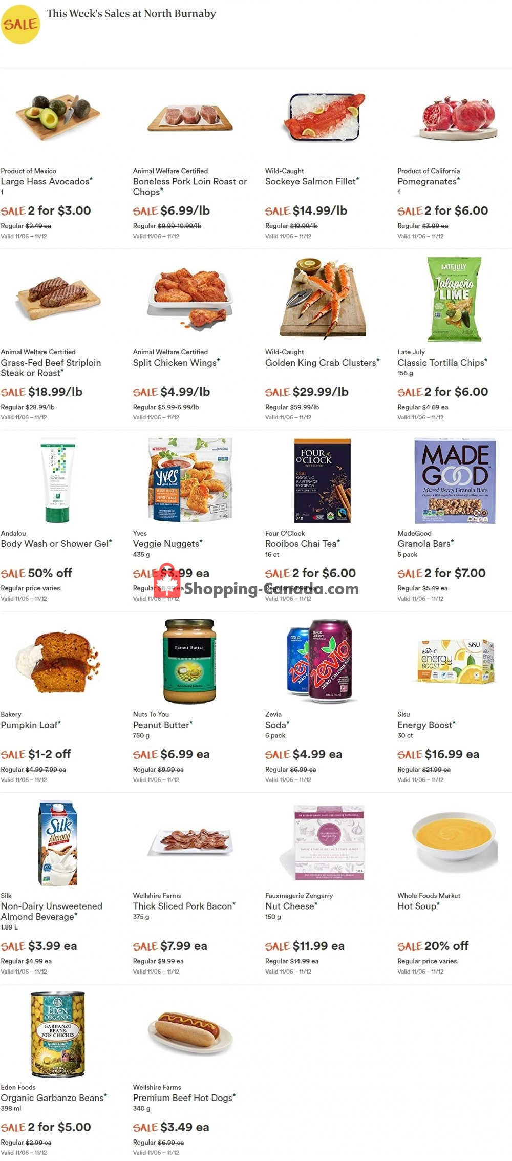 Flyer Whole Foods Market Canada - from Wednesday November 6, 2019 to Tuesday November 12, 2019