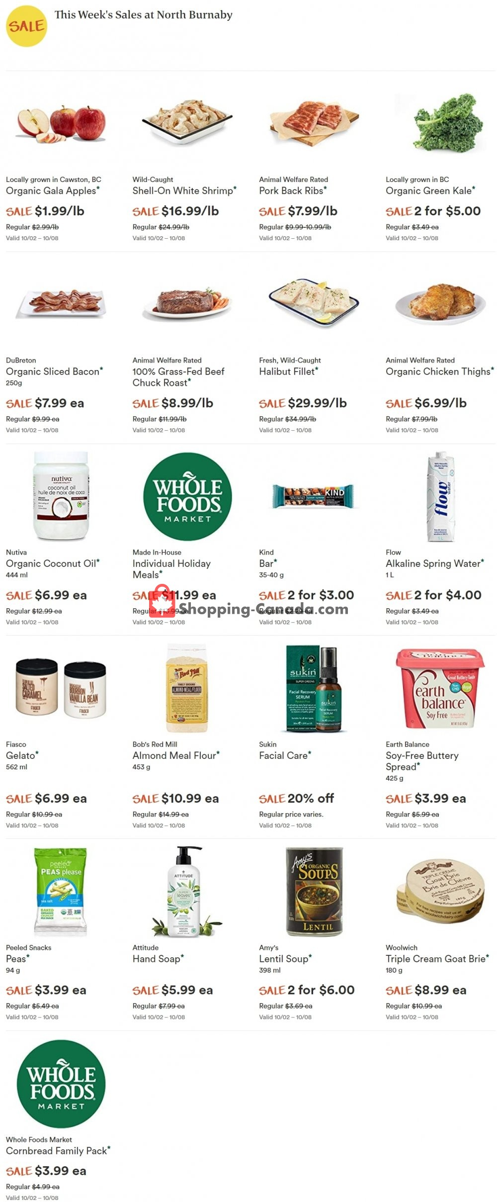 Flyer Whole Foods Market Canada - from Wednesday October 2, 2019 to Tuesday October 8, 2019