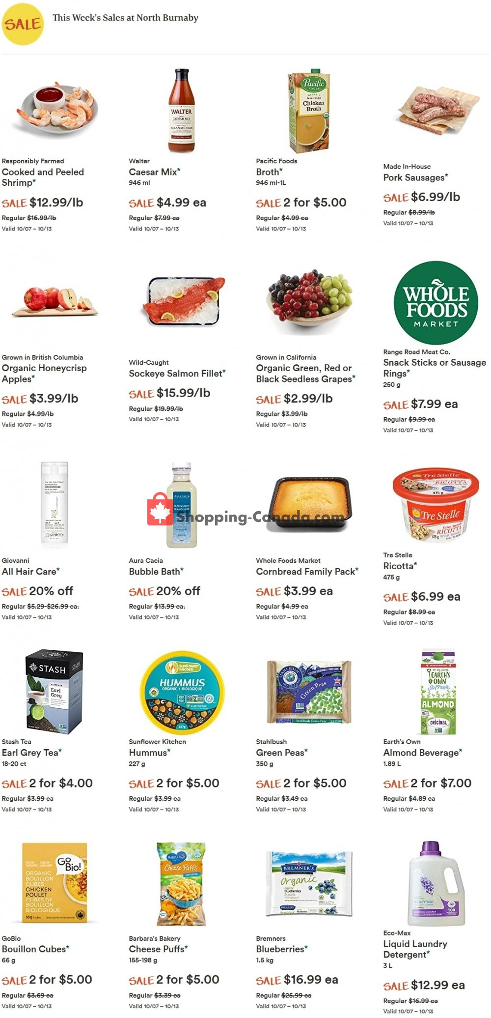 Flyer Whole Foods Market Canada - from Wednesday October 7, 2020 to Tuesday October 13, 2020