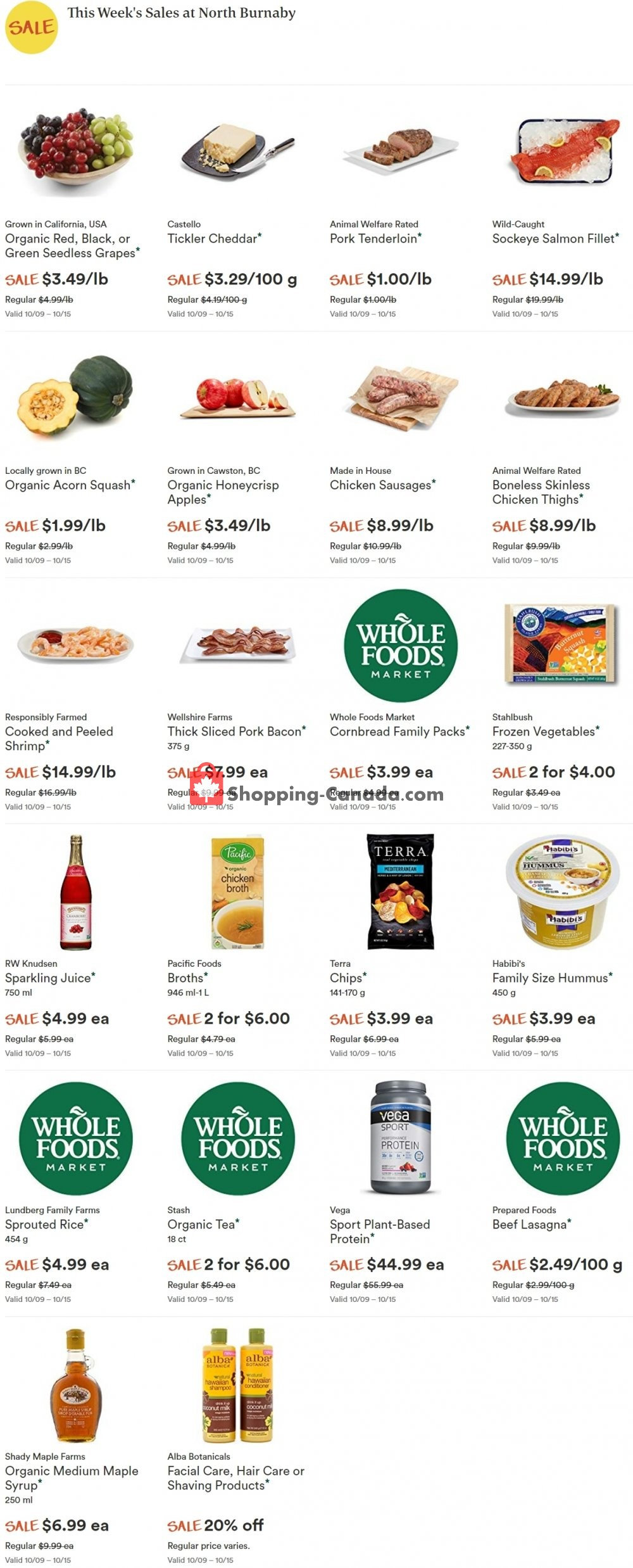 Flyer Whole Foods Market Canada - from Wednesday October 9, 2019 to Tuesday October 15, 2019