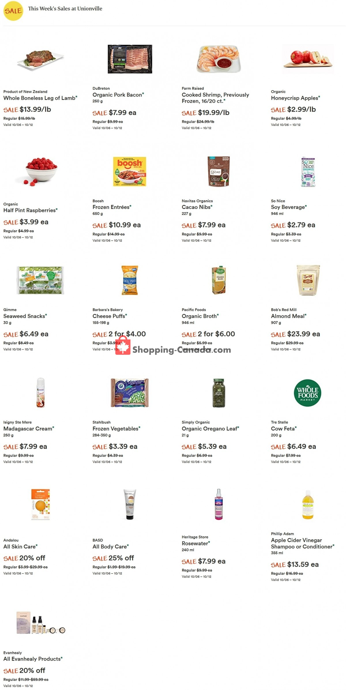 Flyer Whole Foods Market Canada - from Wednesday October 6, 2021 to Tuesday October 12, 2021