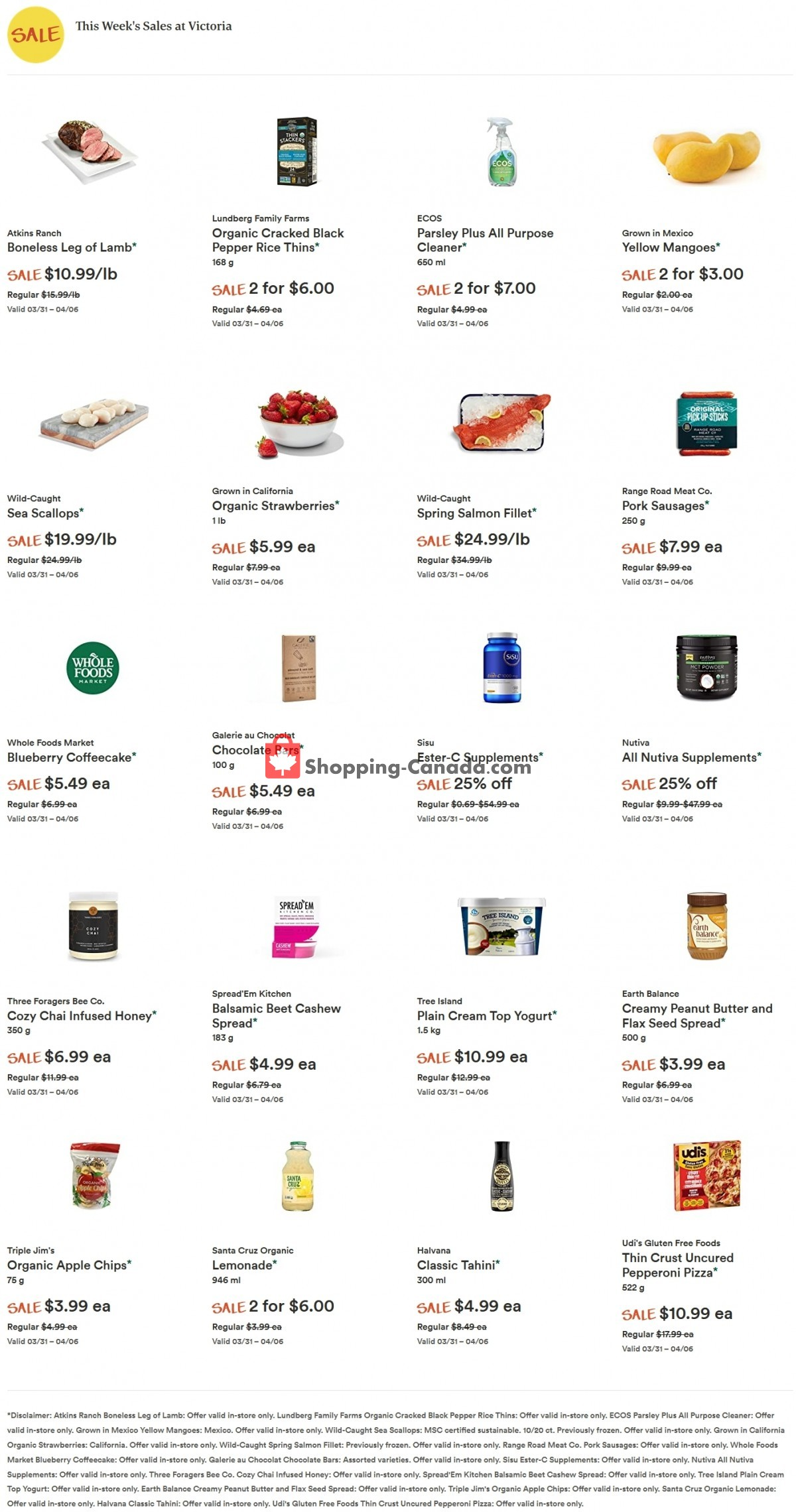 Flyer Whole Foods Market Canada - from Wednesday March 31, 2021 to Tuesday April 6, 2021